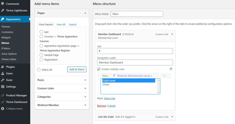 visibility rules for wordpress menus