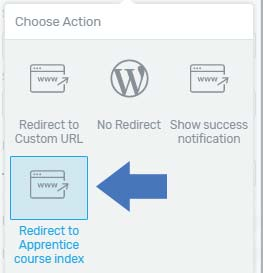 how to redirect to thrive apprentice course index page when users log in