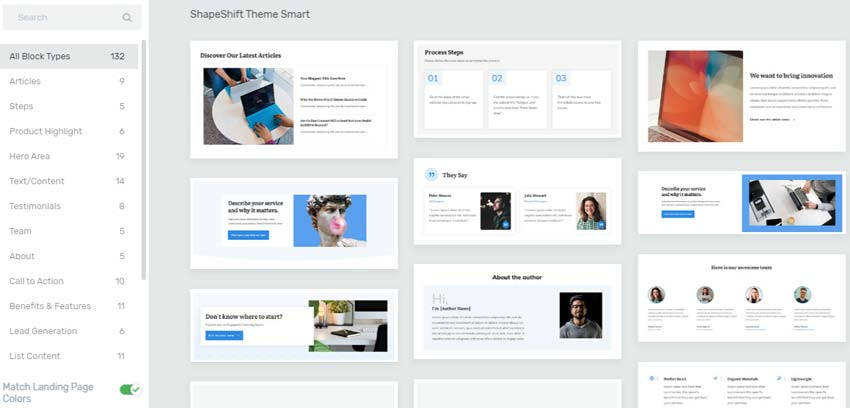 Thrive themes smart landing page blocks