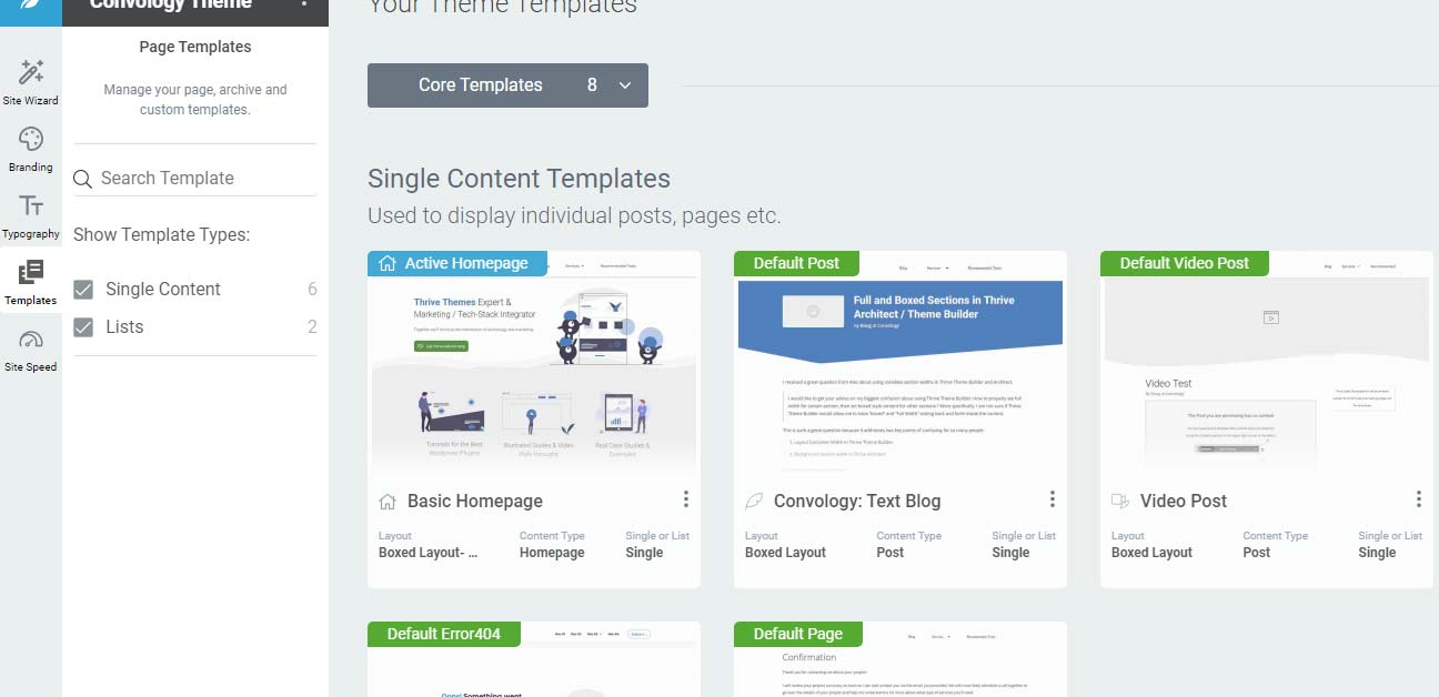 Thrive Theme Builder page Templates