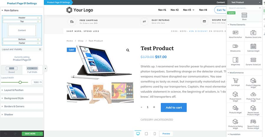 thrive theme builder woocommerce product page