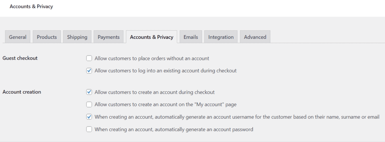 woocommerce account settings for thrive apprentice account creation